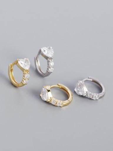925 Sterling Silver Cubic Zirconia Heart Minimalist Huggie Earring