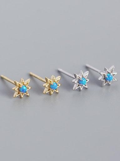 925 Sterling Silver Opal Star Minimalist Huggie Earring