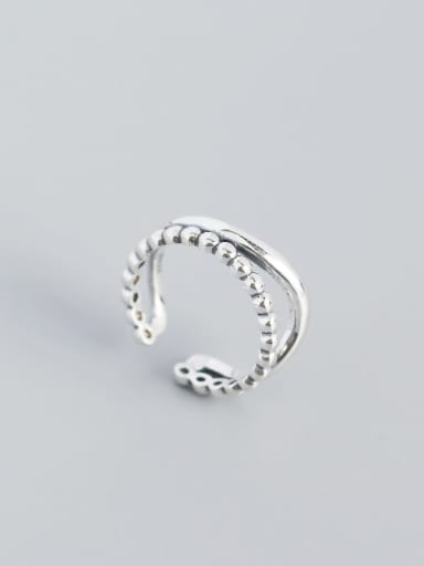 925 Sterling Silver Bead Geometric Vintage Stackable Ring