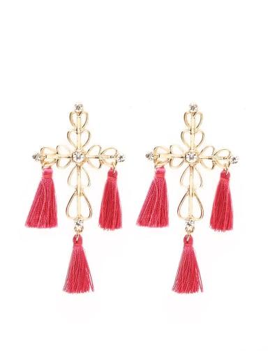 Rose e68264 Stainless steel Cotton Tassel Bohemia Hand-Woven Drop Earring