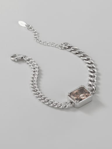 925 Sterling Silver Glass Stone Geometric Chain Vintage Link Bracelet