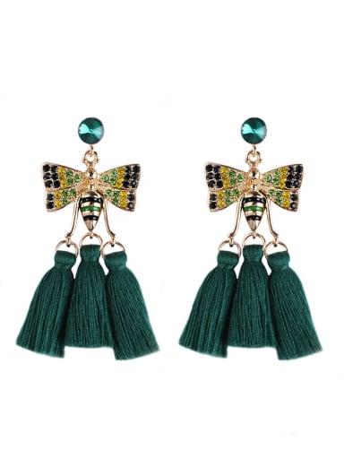Green e68811 Alloy Cotton Rope Tassel Bohemia Hand-Woven Drop Earring