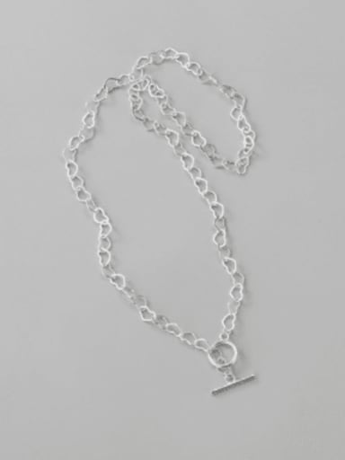 925 Sterling Silver  Hollow Heart  Chain Minimalist Necklace