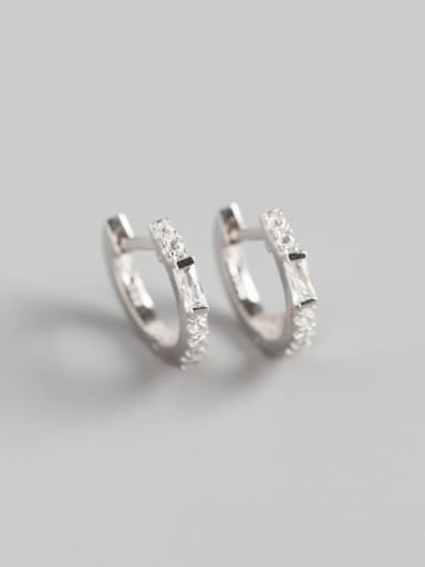 Platinum 925 Sterling Silver Rhinestone White Geometric Trend Huggie Earring