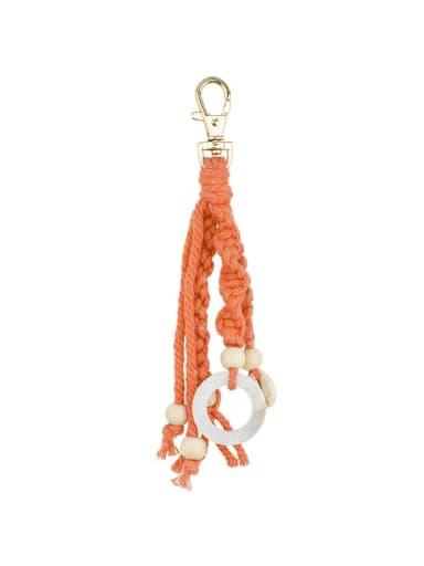 Orange k68164 Alloy Shell Cotton Rope  Round Artisan Hand-Woven  Bag Pendant