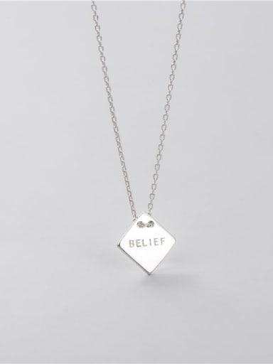 diamond 11.3mm 925 Sterling Silver Geometric Minimalist Necklace