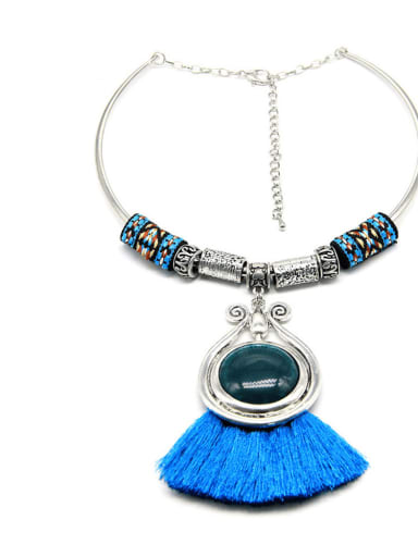 blue Alloy Cotton Rope Tassel Hand-Woven Vintage Choker Necklace