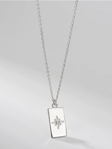 925 Sterling Silver  Minimalist Six Pointed Star Single Diamond Square Brand Necklace