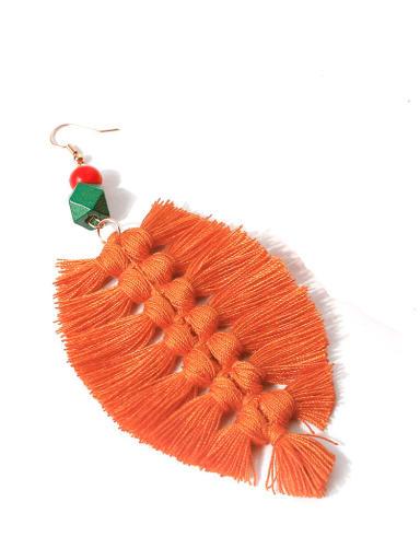 E68622 Alloy Wooden beads Cotton Rope Tassel Bohemia Hand-Woven  Drop Earring