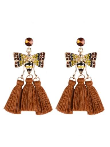 E68811 Alloy Cotton Rope Tassel Bohemia Hand-Woven Drop Earring