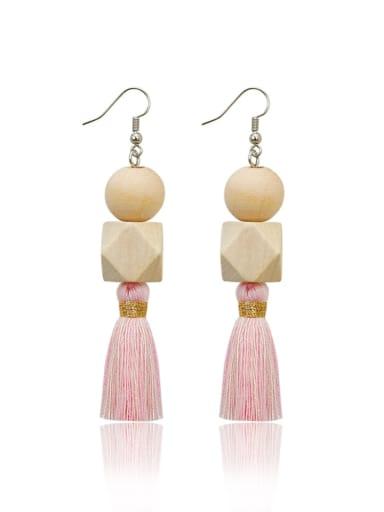Pink e68836 Alloy Bead Wood Tassel Bohemia  Hand-Woven Drop Earring