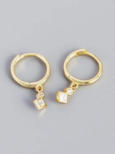 Golden color 925 Sterling Silver Geometric Minimalist Huggie Earring