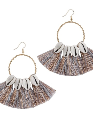Grey e68580 Alloy Cotton Tassel Bohemia Hand-woven Drop Earring