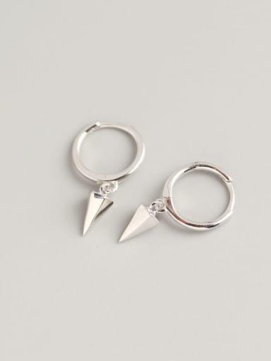 Platinum 925 Sterling Silver Geometric Trend Huggie Earring