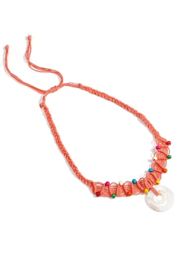 N70249 Shell Cotton Rope Beads Geometric Bohemia Hand-Woven  Long Strand Necklace