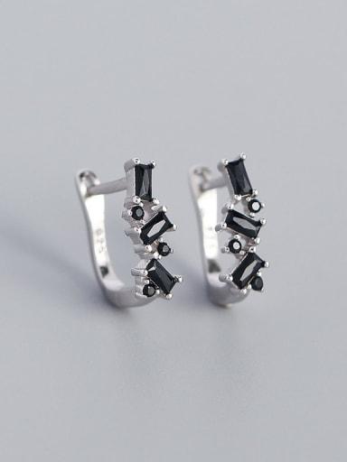 Platinum (Blackstone) 925 Sterling Silver Cubic Zirconia Geometric Minimalist Huggie Earring