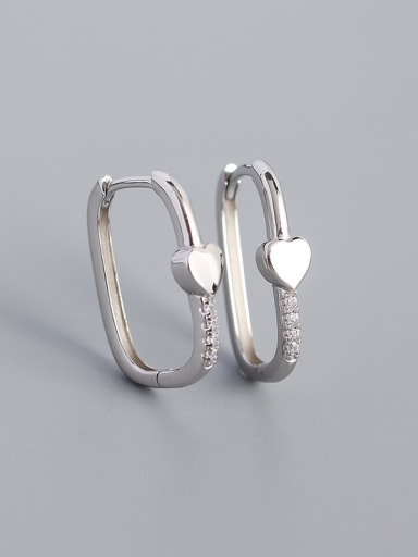 Heart shape (Platinum) 925 Sterling Silver Cubic Zirconia Geometric Minimalist Huggie Earring
