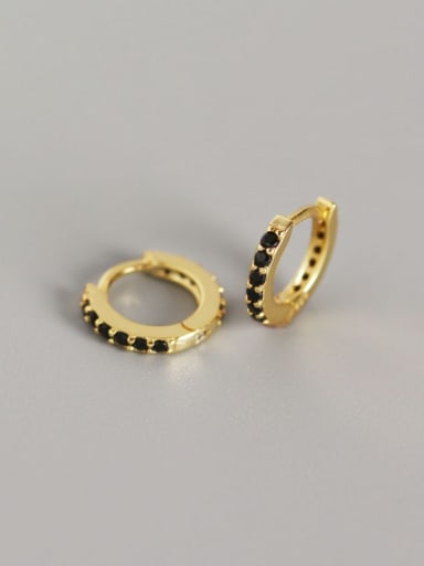 4#Gold (black diamond) 925 Sterling Silver Cubic Zirconia White Geometric Dainty Huggie Earring