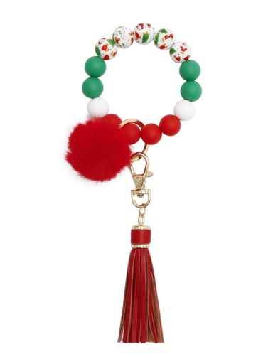 Red k68315 Alloy Multi Color  Silicone Leather  Tassel fur ball christmas tree Key Chain