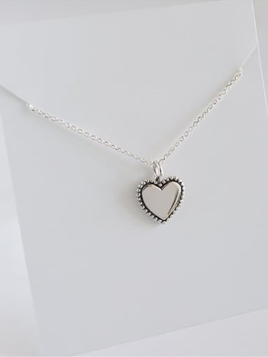Yhn054 heart 925 Sterling Silver Geometric Minimalist Necklace