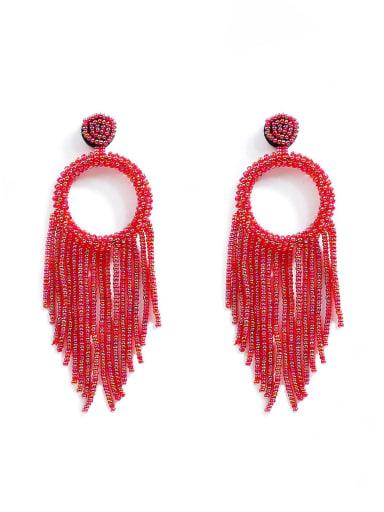 Alloy Bead Tassel Bohemia Hand-Woven  Drop Earring