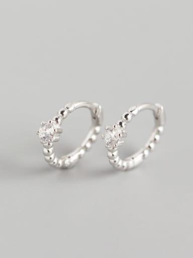 Platinum 925 Sterling Silver Cubic Zirconia White Geometric Classic Huggie Earring
