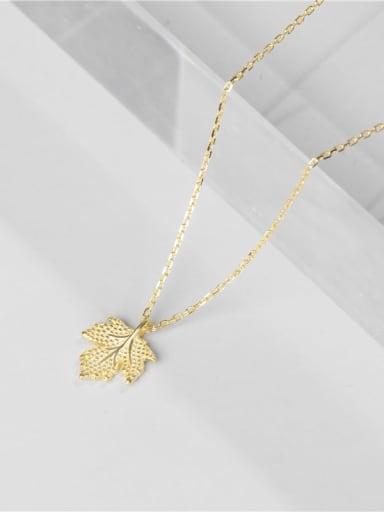 Gold necklace 925 Sterling Silver Leaf Minimalist Necklace