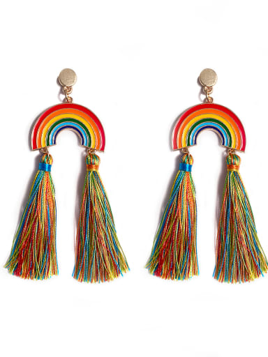 E68791 Alloy Cotton Rope Rainbow Bohemia Cotton Rope Drop Earring