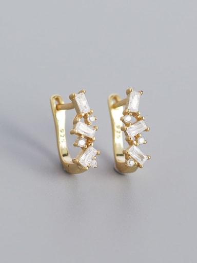 Gold (white stone) 925 Sterling Silver Cubic Zirconia Geometric Minimalist Huggie Earring