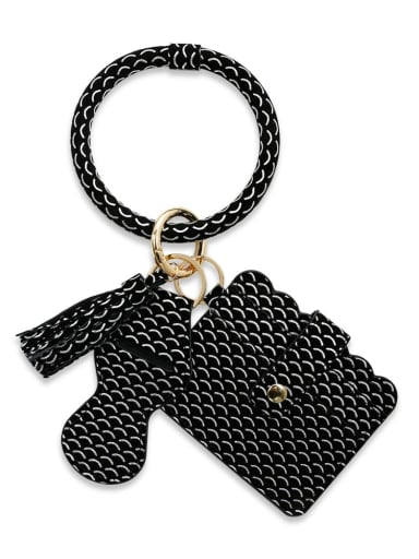K68216 Alloy Leather Leopard Card package Hand Ring Key Chain