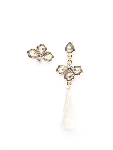 White e68265 Alloy Tassel Asymmetry Bohemia Hand-Woven Drop Earring