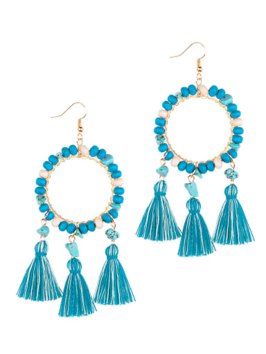 E68751 Alloy Turquoise Cotton Tassel  Geometric Bohemia Hand-Woven Drop Earring