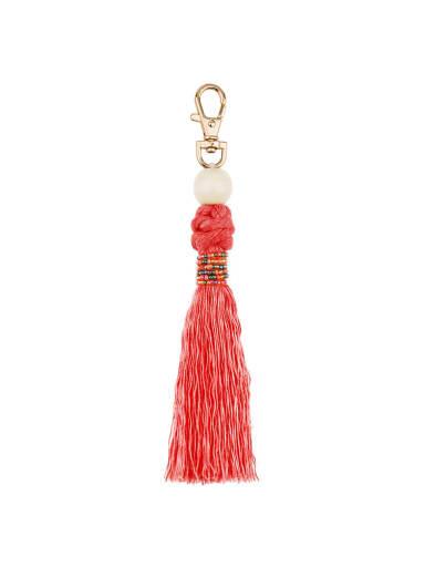 K68152 red Alloy Bead Cotton Rope Tassel Artisan Hand-Woven Bag Pendant