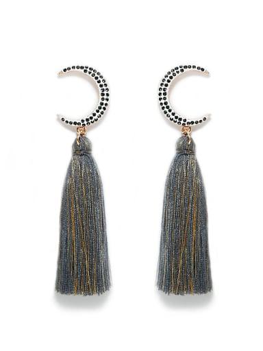 E68806 Alloy Cotton Rope Tassel Bohemia Hand-Woven  Drop Earring