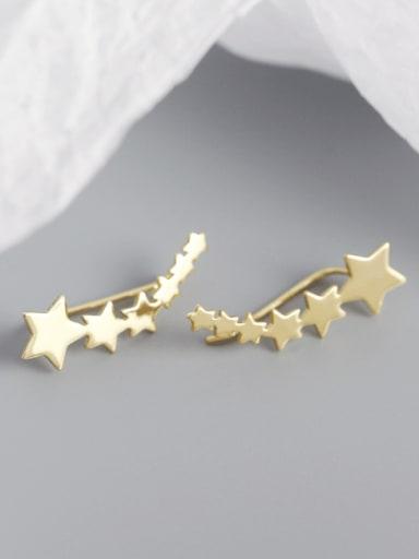 Gold 925 Sterling Silver Star Minimalist Stud Earring