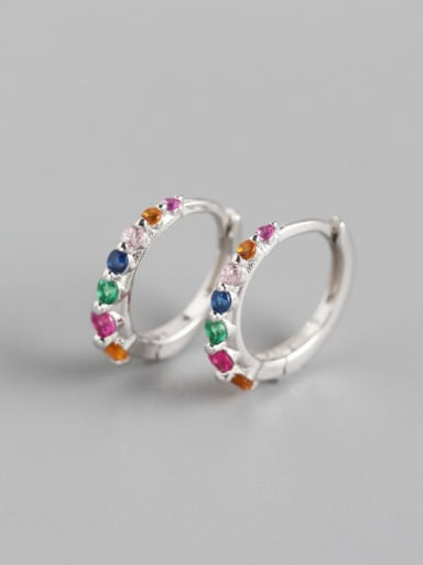 3#Platinum (colored stone) 925 Sterling Silver Cubic Zirconia Multi Color Geometric Minimalist Huggie Earring