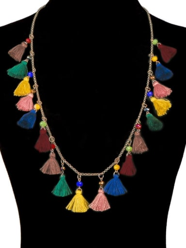 Alloy Cotton Rope  Bohemia Hand-Woven  Tassel Necklace