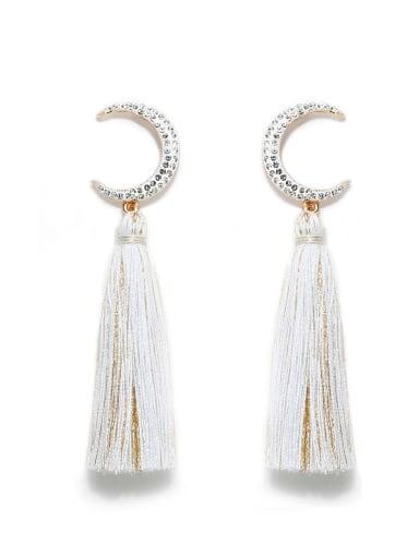 White e68806 Alloy Cotton Rope Tassel Bohemia Hand-Woven  Drop Earring