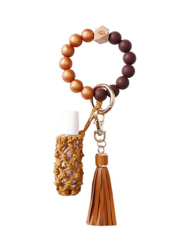 Coffee Silicone beads + perfume bottle+hand-woven key chain/bracelet