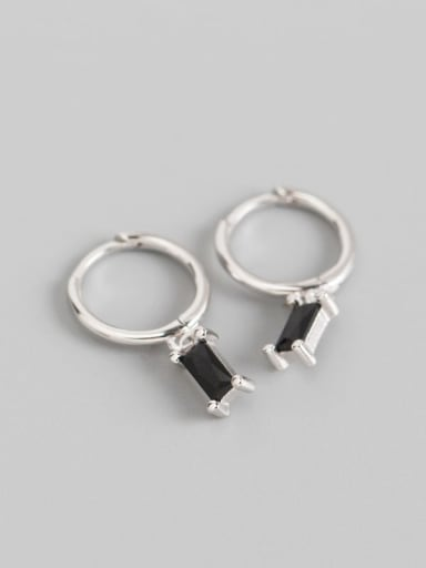 3#Blackstone white gold 925 Sterling Silver Cubic Zirconia Multi Color Geometric Minimalist Huggie Earring
