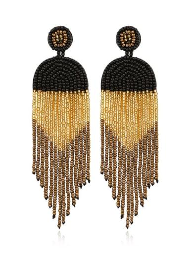 Black Bead Multi Color Tassel Bohemia Hand-woven Drop Earring