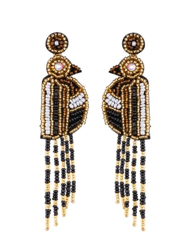 black E68694 Non-woven fabric Bead Tassel Bohemia Hand Weave Threader Earring