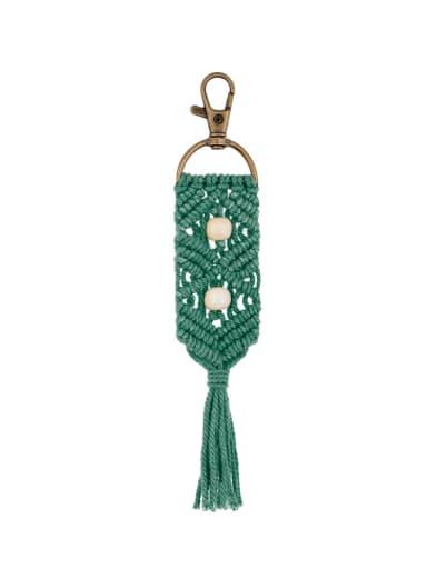 K68159 Alloy Bead Cotton Rope Tassel Bohemia Hand-Woven Bag Pendant