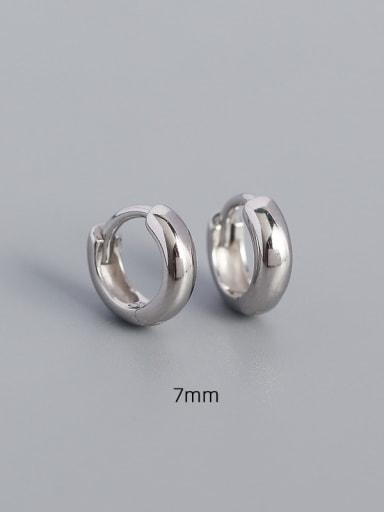 7mm white gold 925 Sterling Silver Geometric Minimalist Huggie Earring