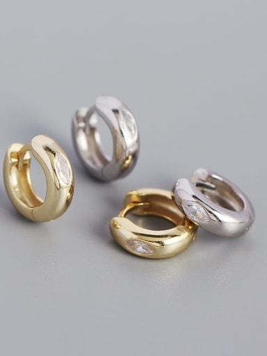 925 Sterling Silver Cubic Zirconia Geometric Minimalist Huggie Earring