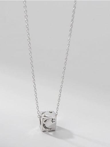 925 Sterling Silver Rhinestone Round Minimalist Necklace