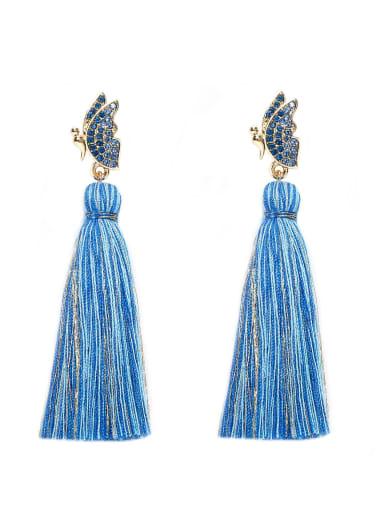 Blue e68798 Alloy Cotton Rope Tassel Bohemia Hand-Woven Drop Earring