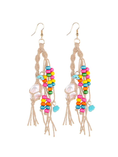 Camel e68745 Alloy Turquoise Cotton Rope  Wooden beads Tassel Artisan Hand-Woven Drop Earring