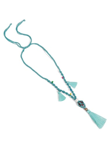 Azure n70247 Bead Cotton Rope  Natural stone Tassel Artisan Hand-Woven Long Strand Necklace