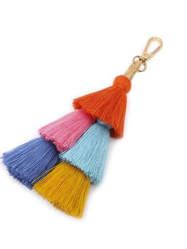 Orange color k68037 Alloy Cotton Rope Tassel Tassel Hand-Woven Bohemia Bag Pendant